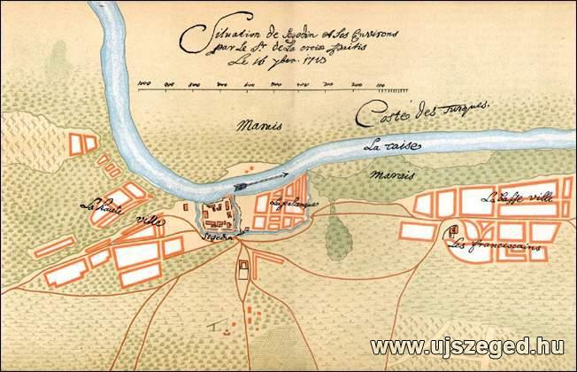 3.  kép Szeged helyzetrajza 1713-ban. (De la Croix Paitis rajzának  kisebbített hasonmása.)